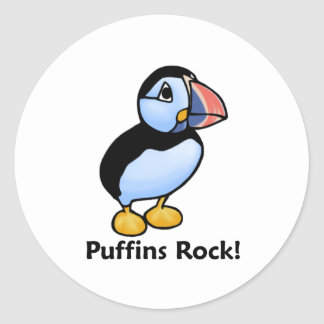 Puffins Rock! Classic Round Sticker