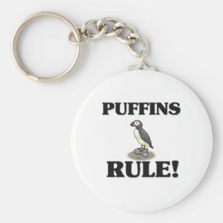 PUFFINS Rule! Basic Round Button Key Ring
