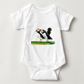 Puffins Seabirds in Watercolour Paints Artwork Baby Bodysuit