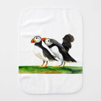 Puffins Seabirds in Watercolour Paints Artwork Burp Cloth