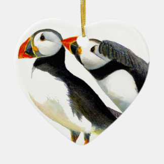 Puffins Seabirds in Watercolour Paints Artwork Ceramic Heart Decoration