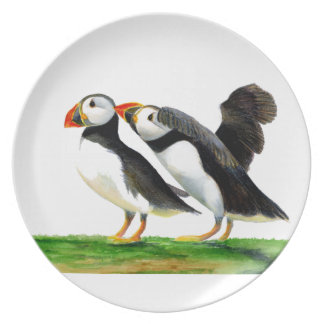 Puffins Seabirds in Watercolour Paints Artwork Plate