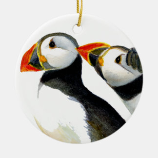 Puffins Seabirds in Watercolour Paints Artwork Round Ceramic Decoration