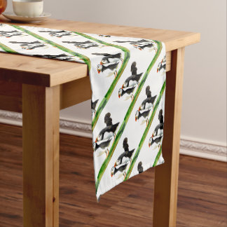 Puffins Seabirds in Watercolour Paints Artwork Short Table Runner