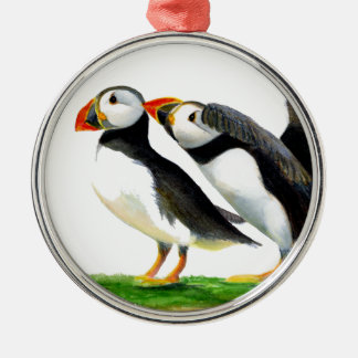 Puffins Seabirds in Watercolour Paints Artwork Silver-Colored Round Decoration