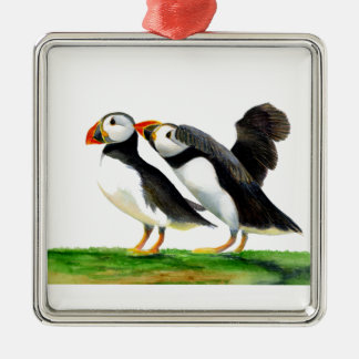 Puffins Seabirds in Watercolour Paints Artwork Silver-Colored Square Decoration