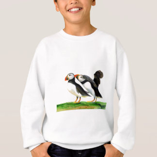 Puffins Seabirds in Watercolour Paints Artwork Sweatshirt