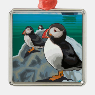 Puffins watching a Cruise Ship Christmas Ornament