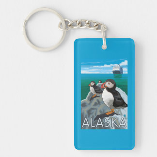 Puffins watching a Cruise Ship Double-Sided Rectangular Acrylic Key Ring