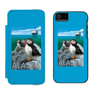 Puffins watching a Cruise Ship Incipio Watson™ iPhone 5 Wallet Case