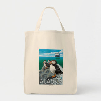 Puffins watching a Cruise Ship Tote Bag