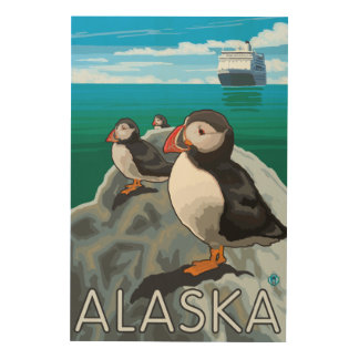 Puffins watching a Cruise Ship Wood Print