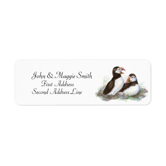 Puffins, Watercolor Bird Collection Return Address Label