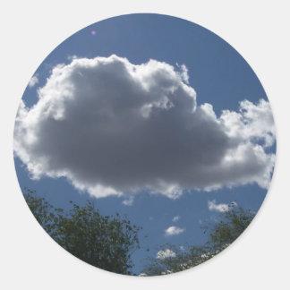 Puffy Cloud Classic Round Sticker