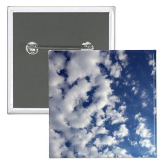 Puffy Clouds On Blue Sky 15 Cm Square Badge