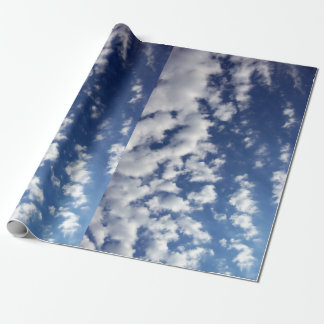 Puffy Clouds On Blue Sky gift wrap Wrapping Paper