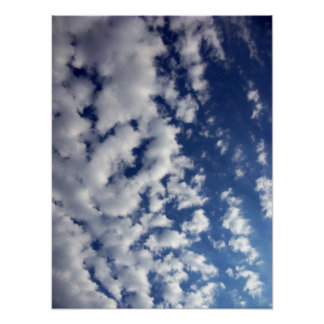 Puffy Clouds On Blue Sky Posters