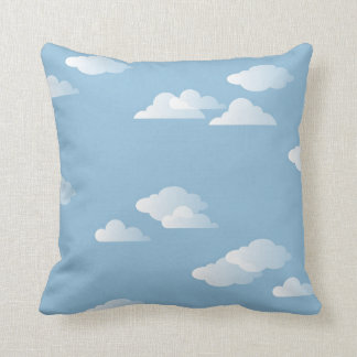 Puffy Clouds Sky Blue White Daydream Throw Pillow