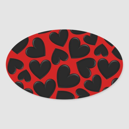 Puffy Hearts Oval Stickers