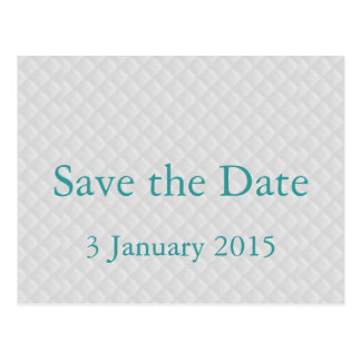 Puffy White Quilted Leather Save the Date Card Postcard