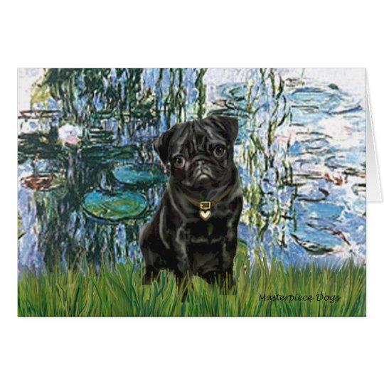 Pug 13 (black) - Lilies 1 Card