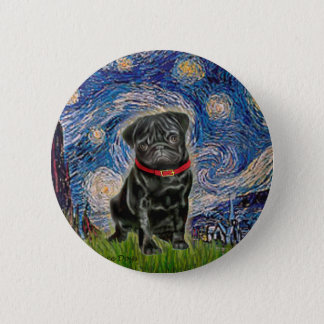 Pug 13 (black) - Starry Night 6 Cm Round Badge