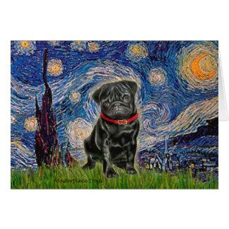 Pug 13 (black) - Starry Night Greeting Card