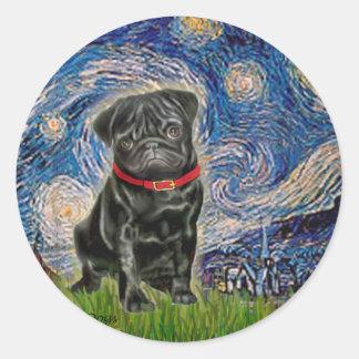 Pug 13 black - Starry Night Sticker