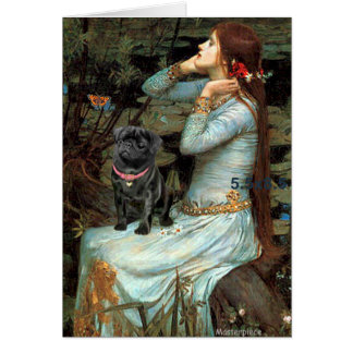Pug 14 (black) - Ophelia Seated Card