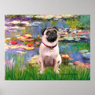 Pug 1 - Lilies 2 Poster