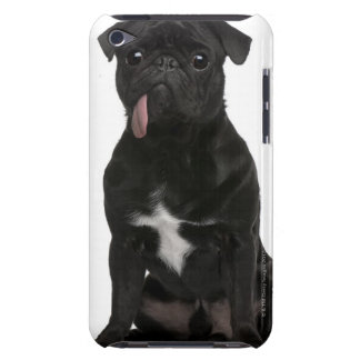 Pug (1 year old) sitting with its tongue hanging iPod Case-Mate cases
