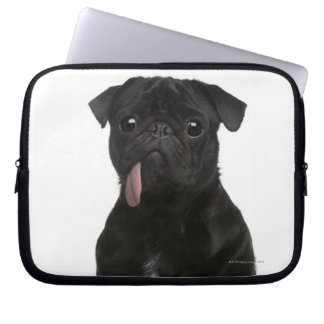 Pug (1 year old) sitting with its tongue hanging laptop sleeve