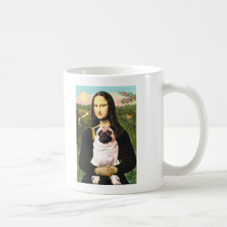Pug 3 (fawn) - Mona Lisa Basic White Mug