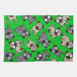 Pug-a-Dot (Green) Hand Towel