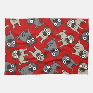 Pug-a-Dot (Red) Tea Towel