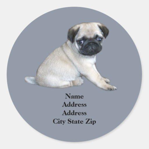 Pug Address Label Round Stickers