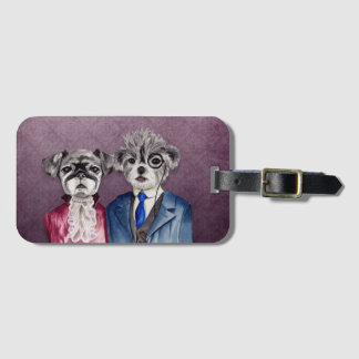 Pug and Brussel Griffon Dogs in Vintage Attire Luggage Tag