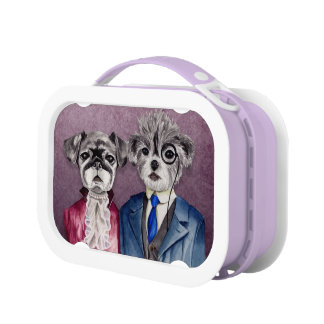 Pug and Brussel Griffon Dogs in Vintage Attire Lunch Boxes