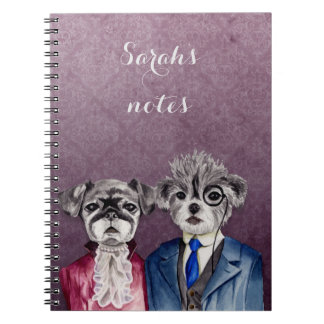 Pug and Brussel Griffon Dogs in Vintage Attire Notebook