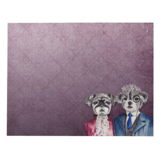 Pug and Brussel Griffon Dogs in Vintage Attire Notepad