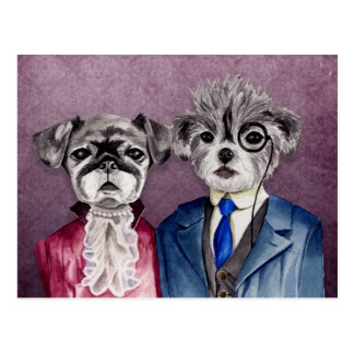 Pug and Brussel Griffon Dogs in Vintage Attire Postcard