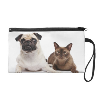 Pug and Burmese cat Wristlet Clutches