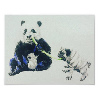 Pug and Panda Poster