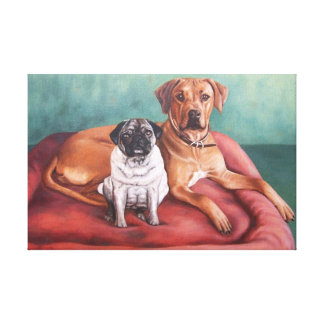 Pug and Ridgeback Canvas Print