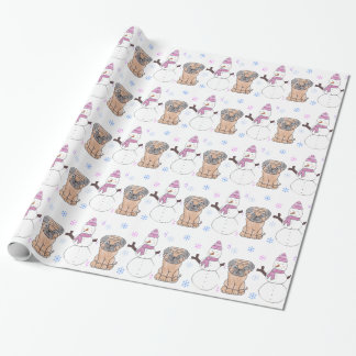 Pug And Snowman Wrapping Paper