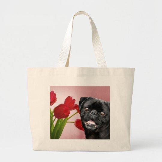 Pug and Tulips Large Tote Bag
