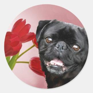 Pug and Tulips Round Sticker