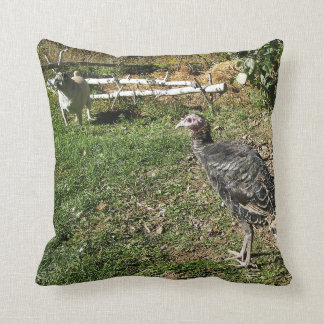 Pug and Turkey Throw Pillow
