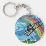 Pug angel flys free key chains
