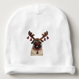 Pug antlers - christmas pug - merry christmas baby beanie